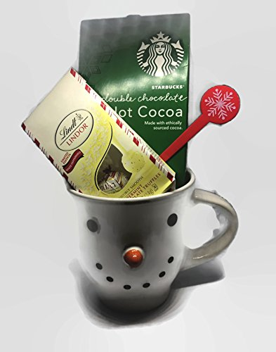 Christmas Hot Cocoa Gift Set includes Snowman Mug, Starbucks Double Chocolate Packet of Double Chocolate Hot Cocoa and Linder Holiday Limited Edition Peppermint White Chocolate - 2 Truffles