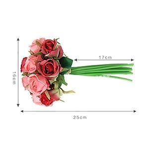 12Pcs Artificial Rose Bouquet Decorative Silk Flowers Bride Bouquets for Wedding Home Party Decoration Wedding Supplies 5