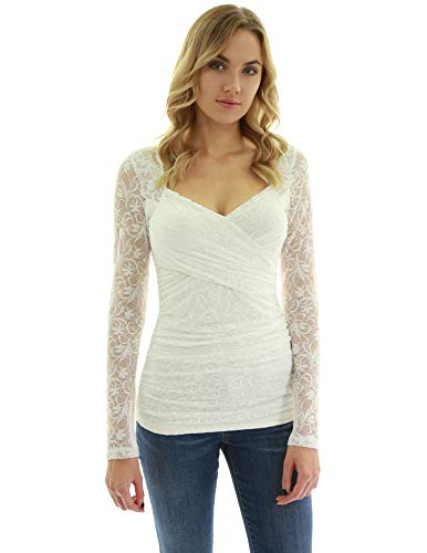 (PattyBoutik Women Lace Overlay Sweetheart Long Sleeve Blouse (Ivory Small) )