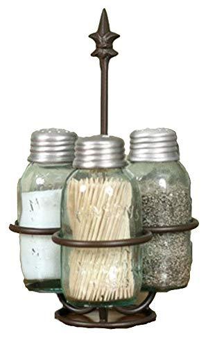 (Colonial Tin Works Fleur de Lis Mason Jar Salt, Pepper and Toothpick Caddy,Brown)