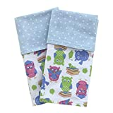 Funkins Cloth Placemats for Kids and School Lunch | Reusable, Eco-Friendly | 2-ply, Machine Washable, Durable | Set of 2, 15''x13'' Cotton Placemats | School Owls