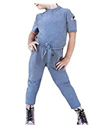 Toddler Kids Girls Ripped Short Sleeve Overalls Tracksuit Jumpsuit Ankle Pants