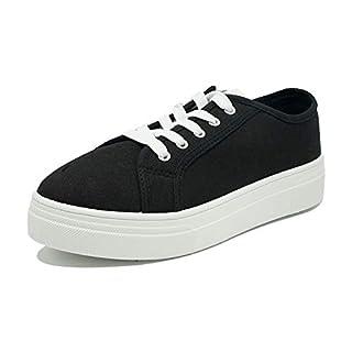 Women's Platform Canvas Lace Up Fashion Sneakers Casual Walking Slip On Shoes DE20 Black 9