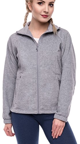 Women's Full-Zip Polar Sport Fall Winter Spring Fleece Jacket Light Grey L ()