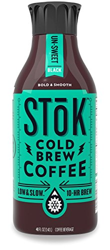 SToK Cold-Brew Iced Coffee, Unsweetened, 48 Ounce, 10-Hour Brew Cold-Brew Arabica-Based Coffee, Unsweetened, Ready-to-Drink Coffee to Pour over Ice or Drink Hot