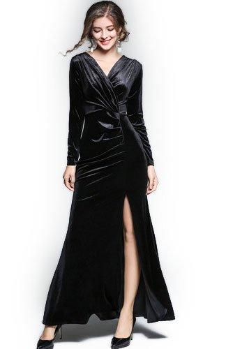 パワーブロッサムうねる[ナニワート]【naniwart】 レディース大きいサイズ ありパーティー 二次会 結婚式 披露宴 キャバドレス 艶感 高級感 ベルベット ドレス ブラック2Lサイズ