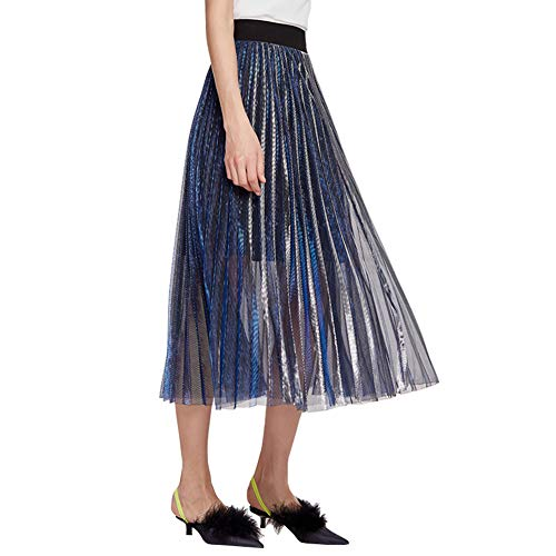 Knee Length Tulle Pleated Skirt Evening Party Gown Concert Prom Formal Skirts (Metal Shiny Blue, XL (US 12P or -