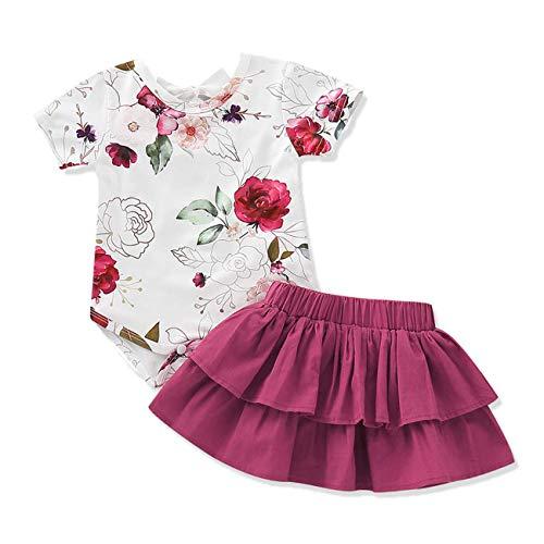 AR-LLOYD Baby Girls Floral Skirt Sets Infant Girls Short Sleeve Romper + Skrit Dress Summer Outfit 2PCS (Wine red, 18-24 Months)