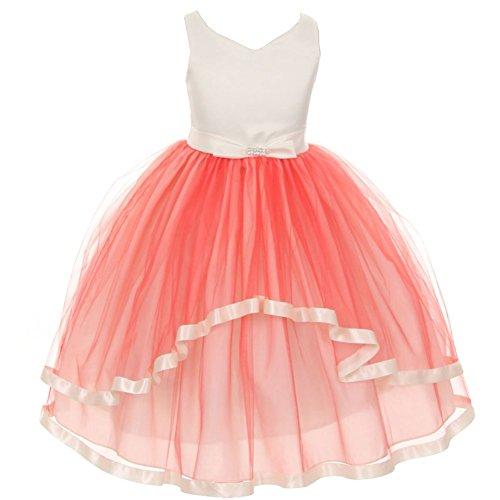 KiKi Kids USA Little Girls Coral V-Neck Satin Bow 3 Layer Tulle Flower Girl Dress 2 from Kiki Kids