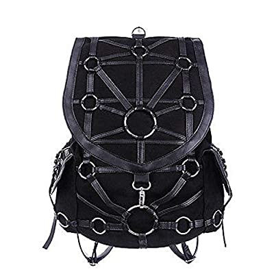 Restyle Dark Side Gothic O-rings & Black Harness Design Witchcraft Backpack: Clothing