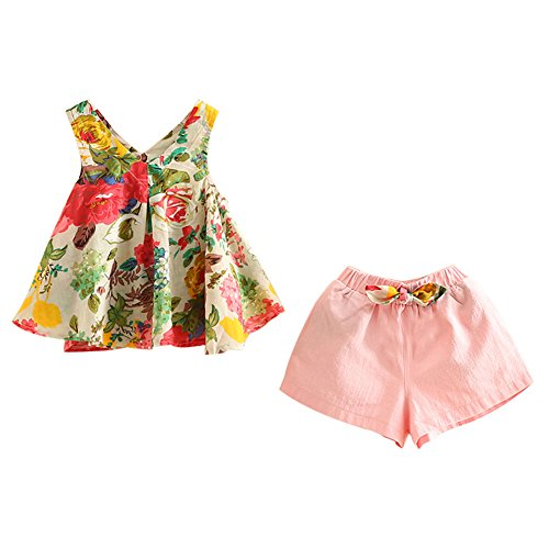 Mud Kingdom Little Girls Outfits Holiday Shorts and Tops Floral Clothes Set Pink 4T