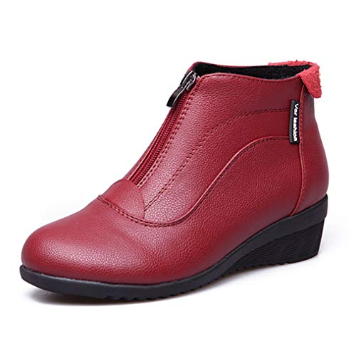 Women's Classic Waterproof Leather Ankle Snow Boots Front Zipper Flat Wedge Heel Slip On Winter Short Boots Red