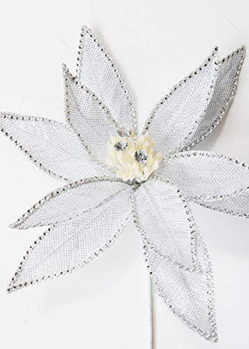 Silver Jeweled Artificial Poinsettia Holiday Flower - 24