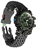 Paracord-DIY Waterproof Survival Watch Paracord, Compass, Whistle, Fire Starter, Scraper