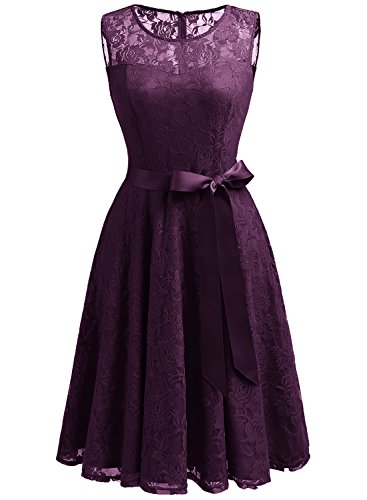 - Dressystar 0009 Floral Lace Dress Short Bridesmaid Dresses with Sheer Neckline L Grape
