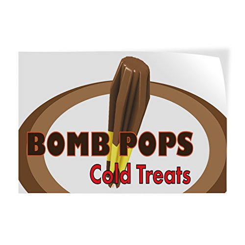 (Decal Sticker Multiple Sizes Bomb Pops Cold Treats Restaurant & Food Bomb Pops Outdoor Store Sign Brown - 12inx8in, One Sticker)