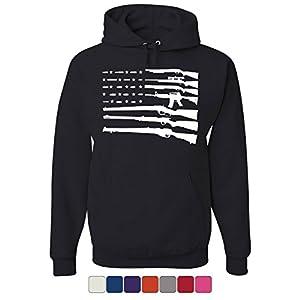 Tee Hunt American Flag Hoodie 2nd Amendment Gun Rights Homeland AR15 Sweatshirt