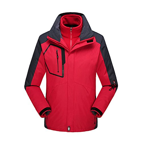 3 Piece Lined Rainsuit (Meijunter Men Outdoor Two-piece Coat Snow Tachnical Jacket Ski Hiking Interchange Jacket Color Red)
