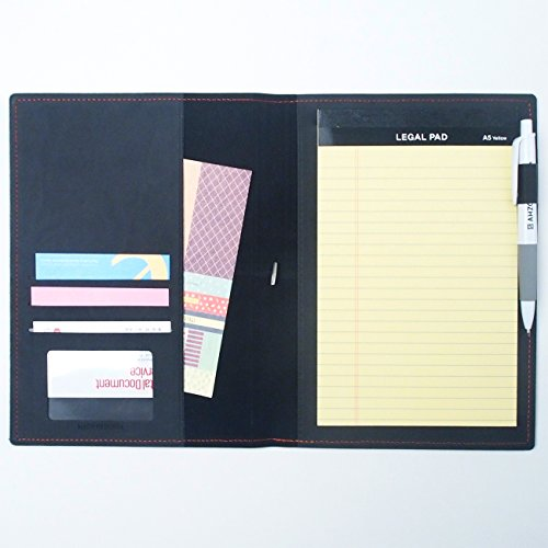 AHZOA 4 Pockets A5 Memo Padfolio S4, Synthetic Leather Handmade 6.69 X 9.06 Inch Folder Clipboard Writing Pad (black)