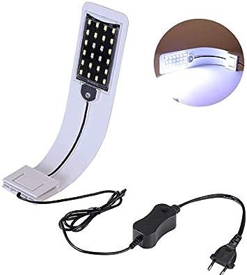 WhenMing 10 W Lampada per Acquario a LED Ultra-Sottile Impermeabile per Acquario 24 LED Bianchi e Blu per Acquario da 30-60 cm(Bianca)