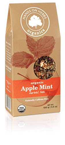 Hands on Herbs Organics Apple Mint Tea | Organic Loose Leaf Herbal Tea with Apple and Peppermint | Delicious Organic Tea | Refreshing Boost Drink | Hot or Iced 3.5 ounces | 100 grams each