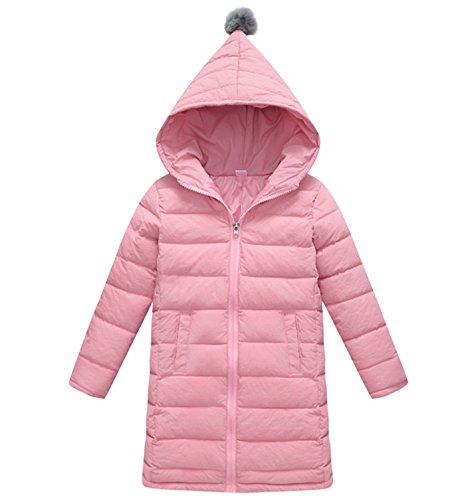 Price comparison product image Big Girls Winter Coat Jacket with Hooded Zipper Up Down Jacket Pink 5-6Years