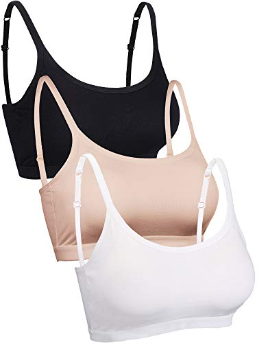 Blulu Mini Camisole Bra Wireless Padded Bra with Adjustable Straps for Women Girls Favors (XL Size, Color Set 2)