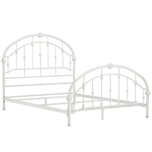 amazoncom white antique vintage metal bed frame in rustic wrought cast iron curved round headboard and footboard victorian old fashioned bedroom furniture