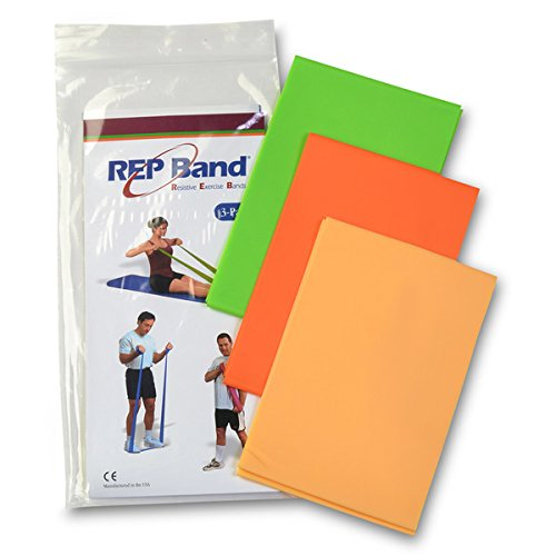 (Exercise Band Kits - Rep Band 3-Pack - Non-Latex - Light Resistance: 1 Peach, 1 Orange, 1 Green)