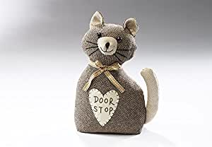 Doorstop cat brown from textil filled with sand, 12x18x27 cm, Tela, Marrón