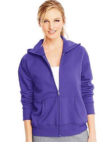 Hanes Women's Full Zip EcoSmart Fleece Hoodie (Medium, Petal Purple)
