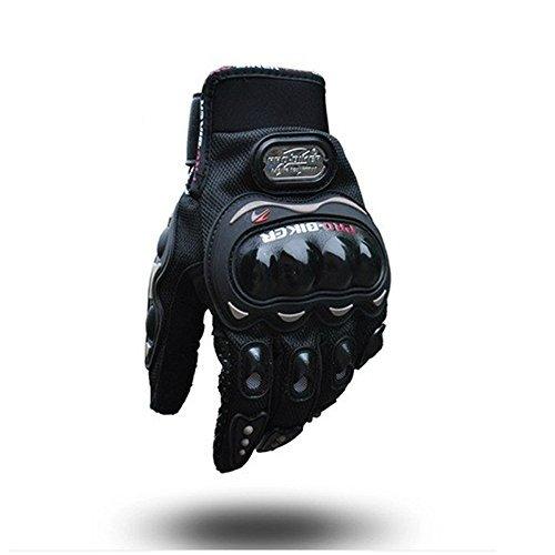 Carbon Fiber Motorcycle Motorbike Cycling Racing Full Finger Gloves Tonsiki (Black, XL)