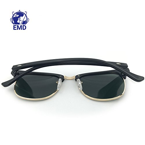 montura metal protección UV de funda 400 sol EMD con cristales de estilo flexible y vintage Gafas de unisex Clubmaster polarizadas policarbonato nailon diseño z1HZfx