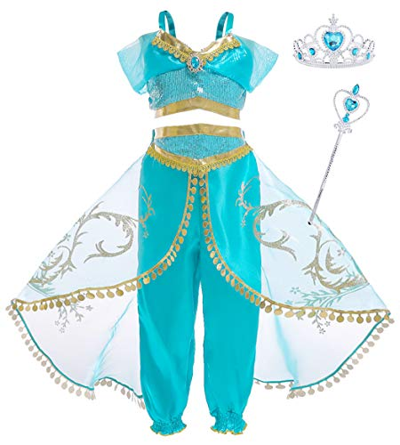 Cotrio Jasmine Princess Costume Little Girls Arabian Princess Dresses Halloween Cosplay Dress up with Accessories Size 12 (11-12 Years, 150, Green Blue) -
