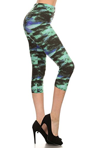 Leggings Depot Women's Plus Size High Waisted Best Selling Capri Print Leggings (Green Galaxy) (Print Plus Size Tights)