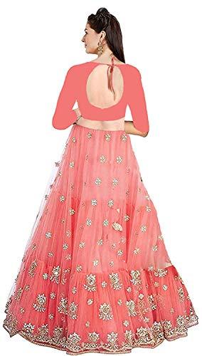 Sky Kanishth SKS Enterprise Women's Embroidered Orange Semi Stitched Lehenga Choli with Blouse Piece (O1_Orange_Freesize)