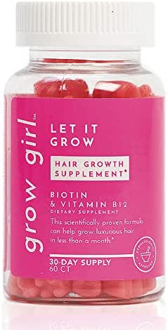 Grow Girl Vegan Hair Growth Vitamins With Biotin | Hair Growth Gummy Vitamins | Non-GMO | Prevent Hair Loss | Let It Grow (1)