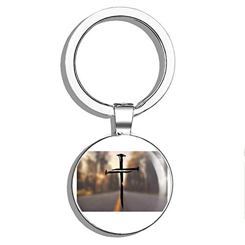 1080 Graphics Cross Nails JesusMetal Round Metal Key Chain Keychain Ring ()