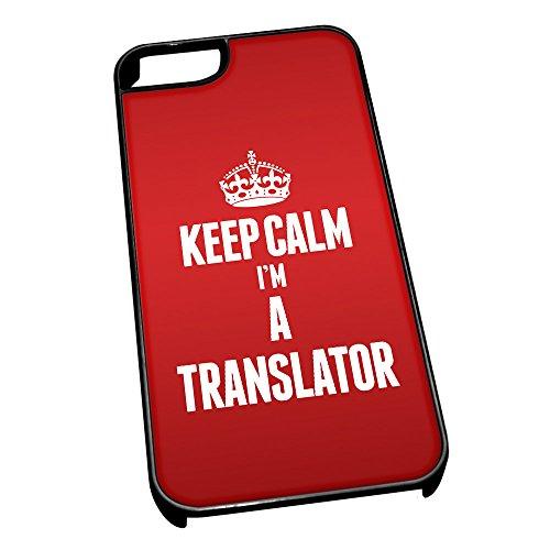 Nero cover per iPhone 5/5S 2697Red Keep Calm I m A Translator