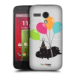 TopFshion Designs Balloon Lover Hippo Party Animals Protective Snap-on Hard Back Case Cover for Motorola Moto G