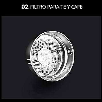 LIAN Botella de Agua de Acero Inoxidable Negro para caf/é Pantalla LED T/áctil Inteligente con Temperatura t/é