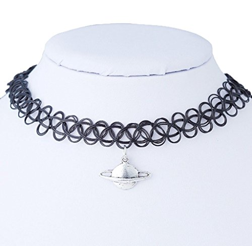 Crystal Superhero Costume (Usstore Women Tattoo Saturn Choker Necklaces Stretch Double Layer Henna Vintage Torque Pendants Alloy Gift)