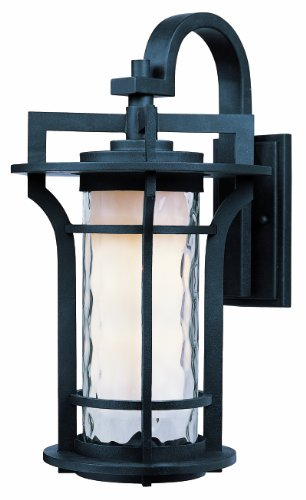 Maxim 30484WGBO Oakville 1-Light Outdoor Wall Lantern, Black Oxide Finish, Water Glass Glass, MB Incandescent Incandescent Bulb , 6W Max., Wet Safety Rating, 3000K Color Temp, Shade Material, 840 Rated Lumens ()
