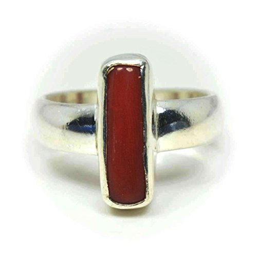 Gemsonclick Natural Red Coral 925 Silver Ring For Women 3 Ct Chakra Healing Size 5,6,7,8,9,10,11,12,13