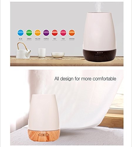 Wansu 500ml Aroma Essential Oil Diffuser, Ultrasonic Cool Mist Humidifier Air Humidifier with 7 Color LED Waterless Auto Shut-off,for Home, Yoga, Office, Spa, Bedroom, Baby Room;Light Wood Grain by Wansu (Image #5)