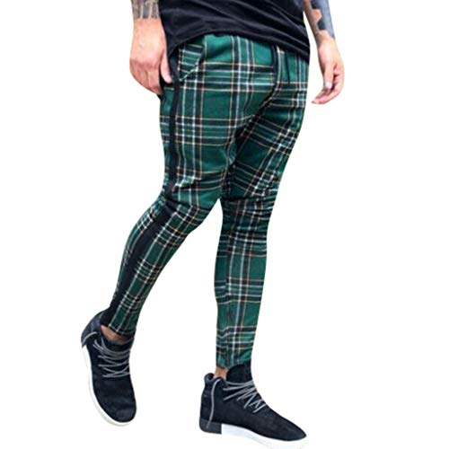 2ab3e43674c798 Dasuy Men s Long Gym Sport Plaid Pants Joggers Fitness Activewear Slim Fit  Sweatpants for Gym Training