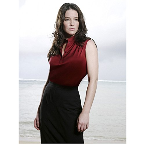 Lost Evangeline Lilly as Kate Austen Red Top Pencil Skirt Ocean Background 8 x 10 inch photo
