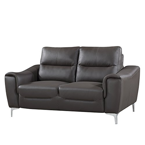 AC Pacific Rachel Collection Ultra Modern Fabric Upholstered Loveseat With Plush Cushions and Splayed Leg Finish, (Ac Furniture Loveseat)