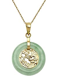 Amazon gemstones jade jewelry men clothing shoes 10k yellow gold natural green jade dragon pendant necklace18 aloadofball Choice Image