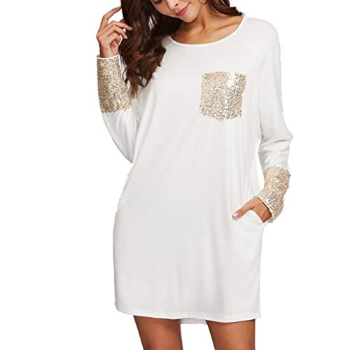 PASATO Fashion Womens Round Neck Dress Sequined Pocket Casual Loose T-Shirt Dress(White,XL=US:L) by PASATO Dress (Image #7)